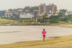Funzionamento della donna alla riva della spiaggia Immagine Stock