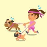 Funzionamento della donna del fumetto con i suoi cani Immagini Stock