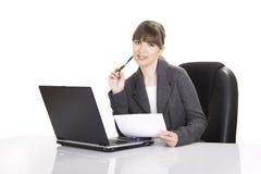 Funzionamento della donna di affari Immagini Stock