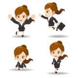 Funzionamento della donna di affari del fumetto Fotografie Stock