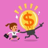 Funzionamento della donna di affari del fumetto con la grande idea Fotografia Stock Libera da Diritti
