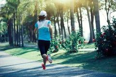 Funzionamento della donna di forma fisica al parco tropicale Immagine Stock Libera da Diritti