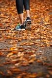 Funzionamento della giovane donna nelle foglie di autunno di prima serata Fotografie Stock