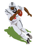 Funzionamento della palla del giocatore di football americano Immagini Stock
