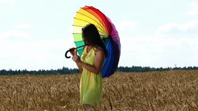 Funzionamento della ragazza di bellezza sul giacimento di grano giallo con l'ombrello multy di colore video d archivio