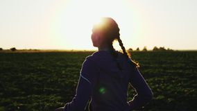 Funzionamento della ragazza lungo il campo al tramonto video d archivio