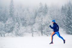 Funzionamento della traccia della donna sulla neve in montagne di inverno fotografia stock libera da diritti