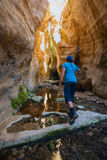 Funzionamento della viandante lungo il canyon fotografia stock libera da diritti
