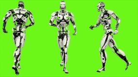 Funzionamento di androide del robot Moto realistico sullo schermo verde rappresentazione 3d royalty illustrazione gratis