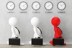 funzionamento di 3d Businessmans con una cartella davanti alla fascia oraria C Fotografia Stock