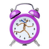 Funzionamento di modello di legno di Businessman nell'allarme d'annata dell'orologio Immagine Stock Libera da Diritti