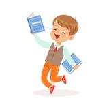 Funzionamento felice con i libri, bambino del ragazzo che gode della lettura, illustrazione variopinta di vettore del carattere illustrazione vettoriale