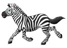 Funzionamento felice del fumetto della zebra Fotografia Stock Libera da Diritti