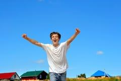 Funzionamento felice dell'adolescente Immagini Stock Libere da Diritti