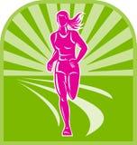 Funzionamento femminile del corridore di maratona Fotografia Stock