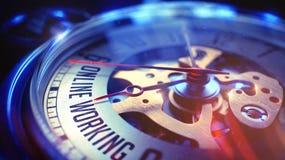 Funzionamento online - testo sull'orologio d'annata della tasca 3d rendono Fotografie Stock Libere da Diritti