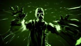 Funzionamento torvo del mostro dello zombie di attacco dello zombie illustrazione 3D Fotografia Stock Libera da Diritti