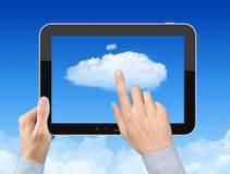 Funzionando con il concetto di calcolo della nube Fotografia Stock Libera da Diritti