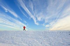 Funzionando nella neve Fotografie Stock Libere da Diritti