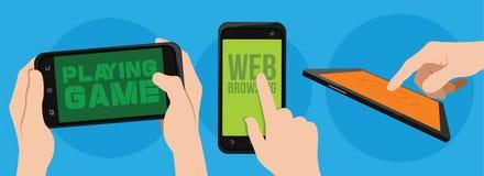 Funzione dello Smart Phone e vettore di concetto dell'icona dell'applicazione Fotografia Stock