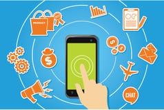 Funzione dello Smart Phone e vettore di concetto dell'icona dell'applicazione Fotografie Stock Libere da Diritti