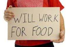 Funzionerà per alimento. Fotografia Stock Libera da Diritti