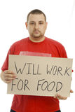 Funzionerà per alimento. Fotografie Stock Libere da Diritti