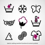 Funzioni della lavatrice & simboli di controllo elettrici Fotografia Stock
