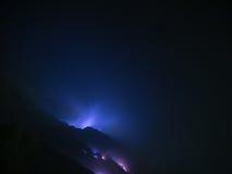 Fuochi blu dello zolfo, Mt Ijen, Indonesia Fotografia Stock Libera da Diritti