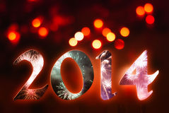 2014 fuochi d'artificio Fotografia Stock Libera da Diritti