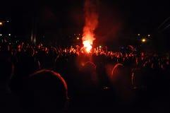 Fuochi d'artificio ad uno stadio Fotografia Stock Libera da Diritti