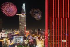 Fuochi d'artificio al nuovo anno lunare, Saigon, Vietnam Fotografie Stock Libere da Diritti