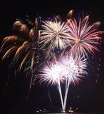 Fuochi d'artificio al pilastro della marina per accogliere favorevolmente 2017 Fotografie Stock