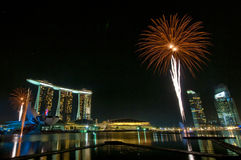 Fuochi d'artificio all'apertura dei Giochi Olimpici della gioventù (2) Immagine Stock