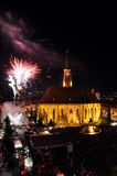 Fuochi d'artificio alla conclusione dei giorni culturali ungheresi della città di Cluj Immagini Stock