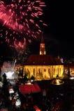Fuochi d'artificio alla conclusione dei giorni culturali ungheresi della città di Cluj Fotografie Stock