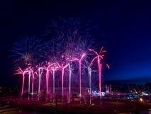 Fuochi d'artificio alla fuga precipitosa di Calgary Fotografia Stock