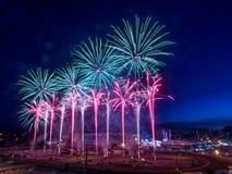 Fuochi d'artificio alla fuga precipitosa di Calgary Fotografie Stock