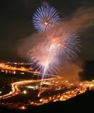 Fuochi d'artificio alla gara motociclistica su pista di Bandimere Fotografia Stock Libera da Diritti