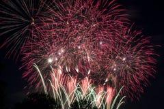 Fuochi d'artificio alla notte Fotografia Stock