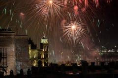 Fuochi d'artificio alla notte Fotografia Stock Libera da Diritti