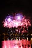 Fuochi d'artificio alla sosta della spiaggia di Moana del Ala Fotografie Stock
