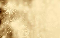 Fuochi d'artificio allo spazio della copia e del nuovo anno - backgrou astratto di festa immagine stock