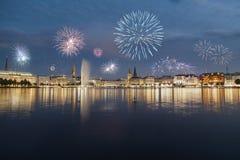 Fuochi d'artificio Amburgo Fotografia Stock Libera da Diritti
