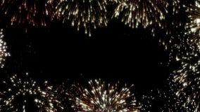 Fuochi d'artificio animati di ciclaggio variopinti, spazio nero del testo della copia del fondo per il messaggio o tipo di logo E royalty illustrazione gratis
