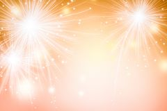 Fuochi d'artificio astratti su fondo dorato Carta da parati di festival di celebrazione illustrazione vettoriale