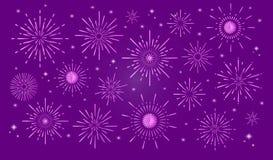 Fuochi d'artificio d'avanguardia variopinti in città illustrazione di stock