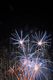 Fuochi d'artificio in azzurro illustrazione di stock
