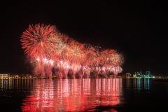 Fuochi d'artificio in Baku Azerbaijan Fotografia Stock Libera da Diritti