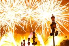 Fuochi d'artificio a Barcellona Spagna Immagine Stock